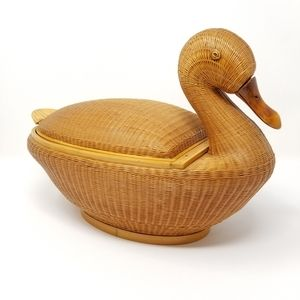 Vintage Duck Basket With Lid Woven Catchall